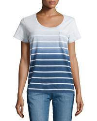Синяя омбре футболка с круглым вырезом