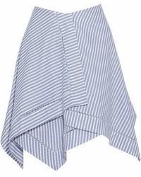 Синяя пышная юбка в горизонтальную полоску