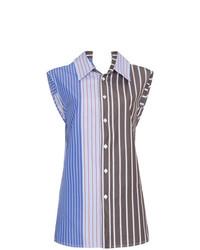 Женская синяя рубашка без рукавов в вертикальную полоску от Marni
