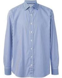 Синяя рубашка с длинным рукавом в вертикальную полоску
