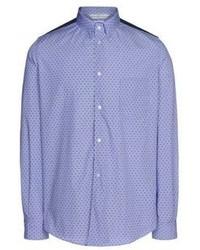 Синяя рубашка с длинным рукавом в горошек