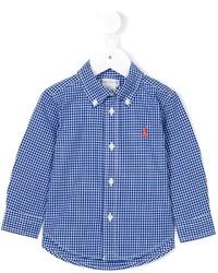 Детская синяя рубашка с длинным рукавом в мелкую клетку для мальчиков от Ralph Lauren