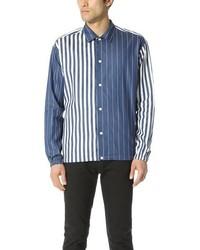 Синяя рубашка с длинным рукавом из шамбре в вертикальную полоску