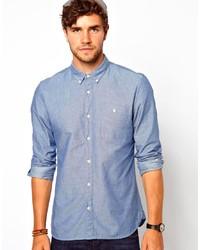 Синяя рубашка с длинным рукавом из шамбре в горошек