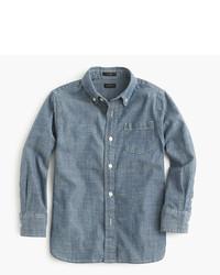 Синяя рубашка с длинным рукавом из шамбре