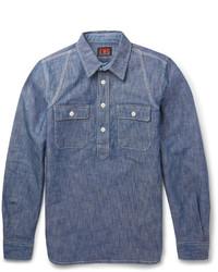 Мужская синяя рубашка с длинным рукавом из шамбре