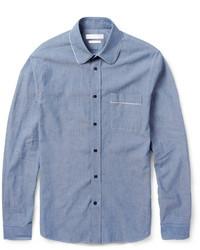Мужская синяя рубашка с длинным рукавом из шамбре от Alexander McQueen