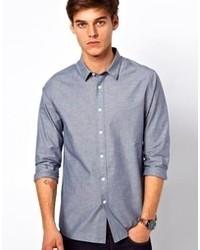 Мужская синяя рубашка с длинным рукавом из шамбре от Asos