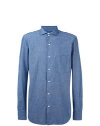 Мужская синяя рубашка с длинным рукавом из шамбре от Aspesi