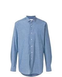 Мужская синяя рубашка с длинным рукавом из шамбре от Bagutta