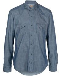 Мужская синяя рубашка с длинным рукавом из шамбре от Barba
