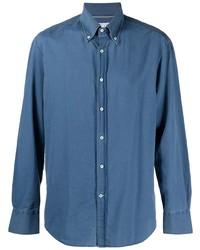 Мужская синяя рубашка с длинным рукавом из шамбре от Brunello Cucinelli