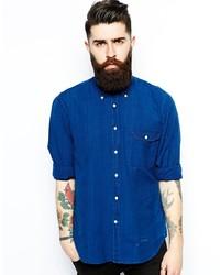 Мужская синяя рубашка с длинным рукавом из шамбре от GANT RUGGER