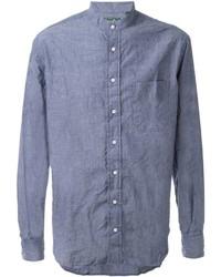 Мужская синяя рубашка с длинным рукавом из шамбре от Gitman Brothers