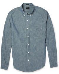 Мужская синяя рубашка с длинным рукавом из шамбре от J.Crew