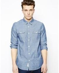 Мужская синяя рубашка с длинным рукавом из шамбре от Jack Wills