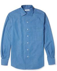 Мужская синяя рубашка с длинным рукавом из шамбре от Loro Piana