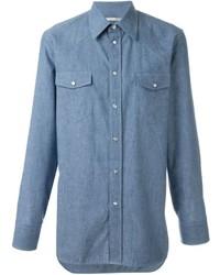 Мужская синяя рубашка с длинным рукавом из шамбре от Marc Jacobs