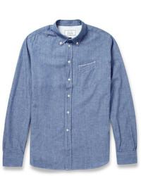 Мужская синяя рубашка с длинным рукавом из шамбре от Officine Generale
