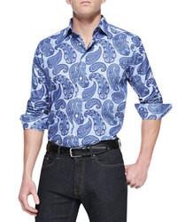 """Синяя рубашка с длинным рукавом с """"огурцами"""""""