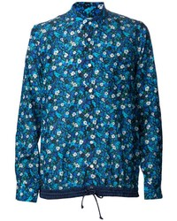 Синяя рубашка с длинным рукавом с цветочным принтом