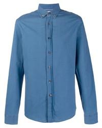 Мужская синяя рубашка с длинным рукавом от Brunello Cucinelli
