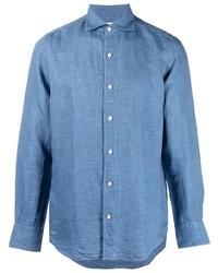 Мужская синяя рубашка с длинным рукавом от Finamore 1925 Napoli