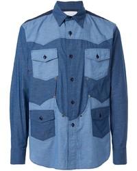 Мужская синяя рубашка с длинным рукавом от Fumito Ganryu