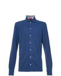 Мужская синяя рубашка с длинным рукавом от Isaia