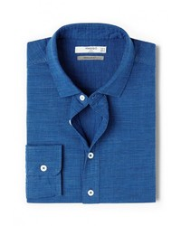 Мужская синяя рубашка с длинным рукавом от Mango Man