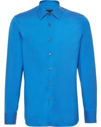 Мужская синяя рубашка с длинным рукавом от Prada