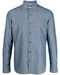 Мужская синяя рубашка с длинным рукавом от Tintoria Mattei