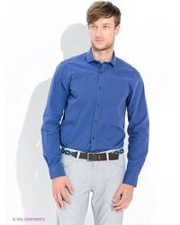 Мужская синяя рубашка с длинным рукавом от Tommy Hilfiger
