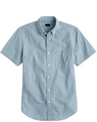 Синяя рубашка с коротким рукавом из шамбре