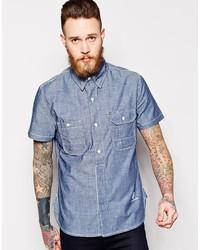 Мужская синяя рубашка с коротким рукавом из шамбре