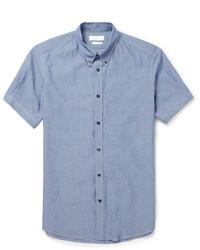 Мужская синяя рубашка с коротким рукавом из шамбре от Alexander McQueen