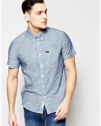 Мужская синяя рубашка с коротким рукавом из шамбре от Lee