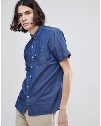 Мужская синяя рубашка с коротким рукавом из шамбре от Levi's