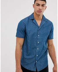 Мужская синяя рубашка с коротким рукавом из шамбре от Solid