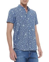 Синяя рубашка с коротким рукавом с принтом