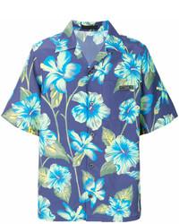 Синяя рубашка с коротким рукавом с цветочным принтом
