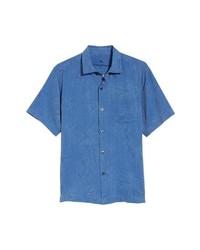 Синяя рубашка с коротким рукавом