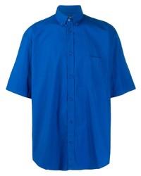Мужская синяя рубашка с коротким рукавом от Balenciaga