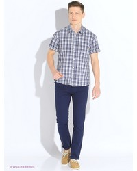Мужская синяя рубашка с коротким рукавом от F5