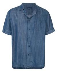 Мужская синяя рубашка с коротким рукавом от Frescobol Carioca