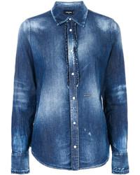 Женская синяя рубашка от Dsquared2