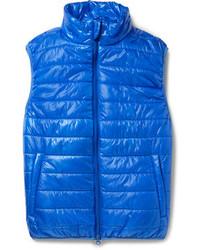 Синяя стеганая куртка без рукавов
