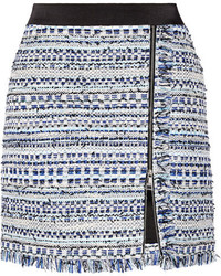 Синяя твидовая мини-юбка