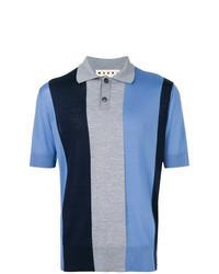 Синяя футболка-поло в вертикальную полоску