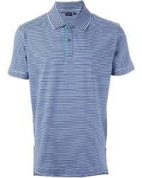 Синяя футболка-поло в горизонтальную полоску